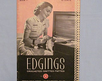Pattern Booklet of Edgings, Crocheted, Knitted and Tatted, 1940s