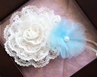 CLEARANCE SALE Newborn lace cream and blue headband, newborn organza flower headband, lace and organza flower headband, newborn headband