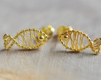 Sterling Silver Wire Wrapped Fish Earrings in Gold, Sterling Silver Fish Earrings, Sea Animals, Fish Lover Earrings