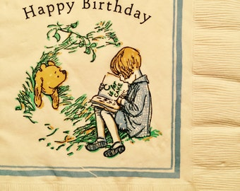 "3 Decoupage Napkin - Classic Disney Winnie the Pooh Christopher Robin 13"" x 13"""