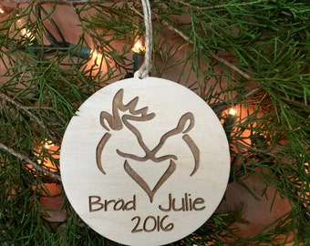 Deer Ornament, Christmas Ornament, Christmas Gift, Custom, Personalized, Tree Ornament, Personalized Gift, Rustic Woodland Ornament