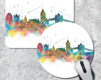 London Mousepad, Skyline Mouse Pad, Watercolor Mouse Mat, London UK, Round Mouse Pad, Custom Mousepad, Wooden Mousepad, Cityscape Mousepad