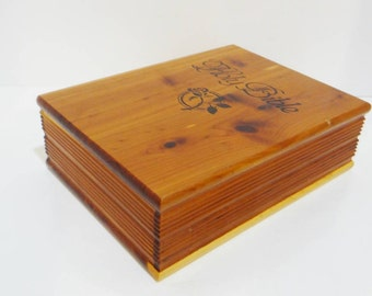 "Vintage Wood Bible Box Holder Cedar Beautiful Condition Velvet Lined Jewelry Large 9"" Made by Local 2301 UBC"