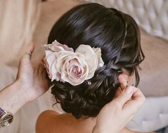 Blush Flower Hair Piece, Blush wedding Hair Flower, Flower Head Piece, light purple flower bridal hair clip, bridal fascinator