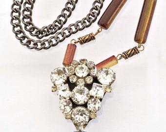 Rhinestone Pendant Necklace - Vintage FurClip - Rhinestone Necklace - Caramel Ice Collection 99.99