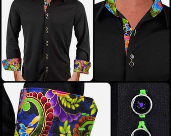 Black with Multi-Color Moisture Wicking Dress Shirt - Made in USA