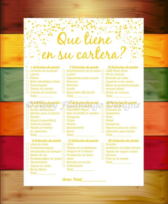 spanish baby shower game what 39 s in your purse shower game gold