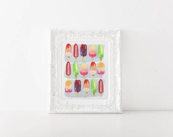 Watercolor Popsicles - Cute 8x10 Wall art - Signed Artist Print