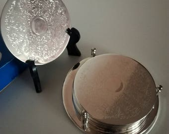 Vintage Silver Plated Six Coasters & Stand from China