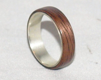 Wooden Rings - Bentwood Sterling Silver & Walnut Inlay Rings - Mens Wood Rings, Womens Wood Rings, Wood Engagement Rings, Wood Wedding Bands