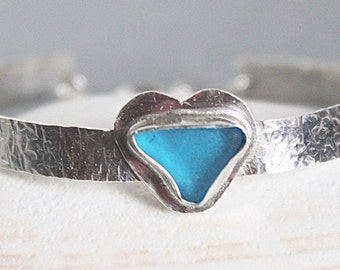 Sea glass jewelry - sea glass bracelet turquoise - sterling silver bracelet - ocean glass bracelet - seaglass bracelet - ocean jewelry -gift