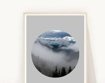 Printable Art, Misty Mountain Photography, Mountain Print, Sky Photography, Sky Print, Minimalist, Wall Decor, Digital Download