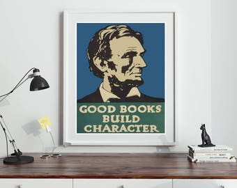 Reading Wall Art Reading Print Literary Poster Literary Print Library Print School Wall Art Library Art Abraham Lincoln Poster Print