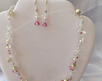 Bridal twist hint of pink. Delicate/blushing bride/pink/pearls/silver/mother of bride/special occasion/gift/