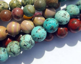 African Turquoise, Big Hole Beads, 8mm Round Beads, 8 inch strand, Matte