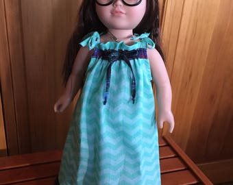 """18"""" Doll Dress, Long Teal Chevron and Multicolored ruffle"""
