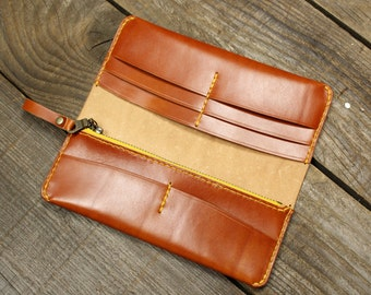 Leather Long Wallet, Ladies Wallet, Purse, Womens Long Wallet, Leather clutch, Slim wallet, Travel wallet, Gift for her, Womens Gift, Slim