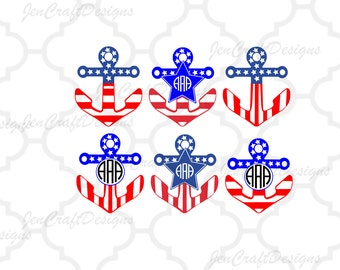 Patriotic Anchor SVG, 4th of july, USA monogram frames svg, Memorial Day Cricut Silhouette, Die Cut Machines Svg, Dxf, Eps, Png cut files