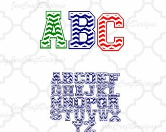 Chevron Alphabet Monogram font, SVG DXF Png EPS, A-Z alphabet Cutting files for use with Silhouette and Cricut Design Space.