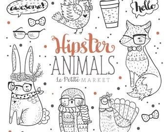 Woodland Hipster Animal Clipart Clip Art Hand Drawn Fox