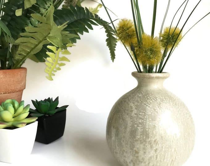 Round Studio Pottery Bud Vase Cream and Gray with Iridescent Glaze