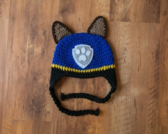 Chase PAW Patrol Hat, Chase Crochet Hat, Paw Patrol Crochet Hat, Paw Patrol Chase Hat, Chase Crochet Hat, Inspired by Chase PAW Patrol