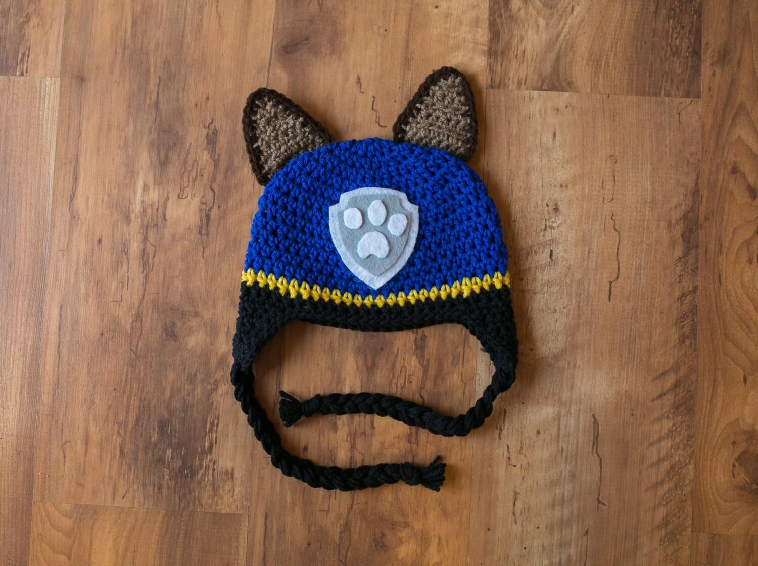 Knitting Pattern Paw Patrol : Chase PAW Patrol Hat Chase Crochet Hat Paw Patrol Crochet