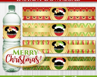 50% OFF SALE Christmas Mickey Mouse and Minnie Mouse Water Bottle Labels, Instant Download, pdf jpg