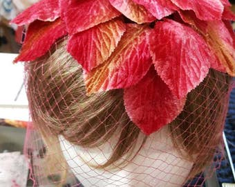 Vintage1960's Pink Leaf Whimsy with Veil /Veiled Small Hat/Fascinator