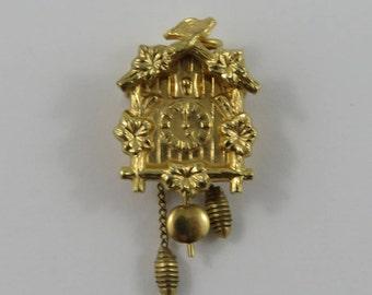 Cuckoo Clock Mechanical 10K Gold Vintage Charm For Bracelet