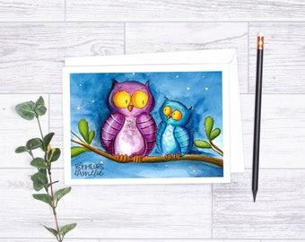 Greeting card The owls, illustration by Les Bonheurs d'Amélie