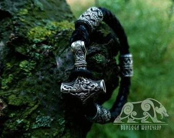 Thor's Hammer Mjolnir Pendant Viking Bracelet Leather Cord Sterling Silver Mjolnir Bracelet  Scandinavian Norse Mjölnir  Viking Jewelry
