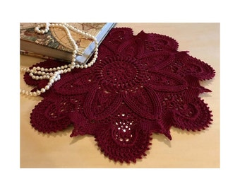 "Crochet Doily Burgundy – 12.5"" Diameter – Round Lace Doily – Crochet Table Topper – Centerpiece - Textured Doily 3D - Gift Idea."