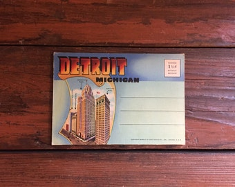 1940s Detroit, Michigan Postcard Book/ 9 Double-Sided Photos/ Unused!!!