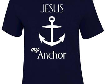 Jesus my Anchor Resting Place Christian Religious Men T shirt