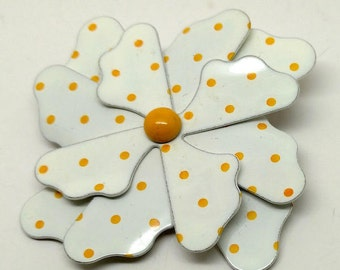 Vintage White with Yellow Polka Dot Metal Flower Brooch