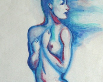 Art print woman-from original watercolor painting modern female figure