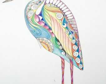 Zentangle heron,zentangle bird,colored zentangle,heron art,bird art,colored bird,wall art,wall decor,zentangle art