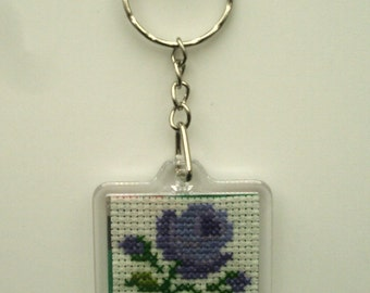 Cross stitch hand embroidered purple gradient pink keychain