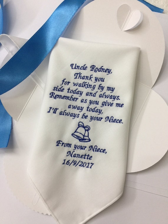 Wedding Gift For Uncle : Uncle Of Bride Wedding Gifts -Custom Embroidered Wedding Hanky For ...
