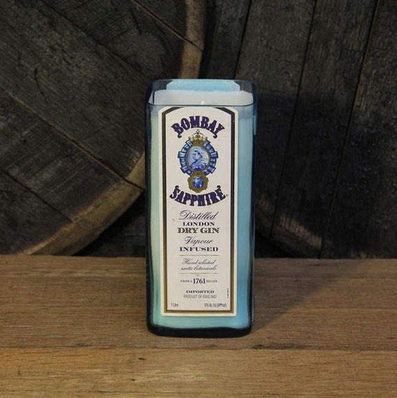 Bombay Sapphire Gin Candle - Recycled Gin Bottle Soy Candle 1L - Custom Scent and Color - 22oz Soy Wax Bourbon Whiskey Gift for Him