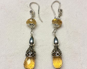 Citrine and .925 Sterling Silver Earrings