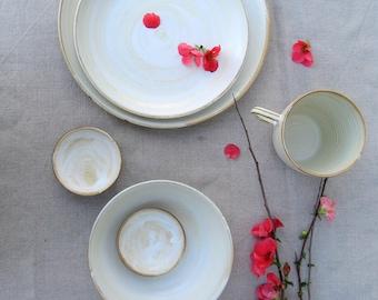 Dinnerware Set, Stoneware dinnerware, Pottery dinnerware, place setting, White dinnerware, Wedding gift, handmade dinnerware, Studio pottery