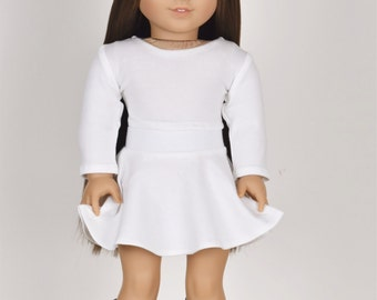 Long sleeve cropped top for 18 inch dolls Color Ivory