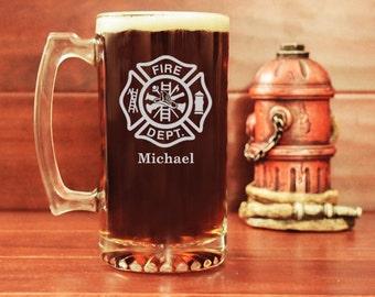 Fireman Beer Mug, Firefighter Beer Stein, Maltese Cross, Personalized Beer Mug, Custom Beer Mug, Gifts for Firefighters, Fire Department