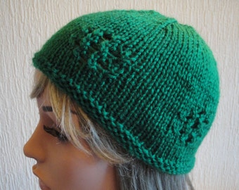 green hat for girls, emerald green cap, green vegan hat, bright green beanie, girl to adult size, hat with lace design, beanie for teenagers