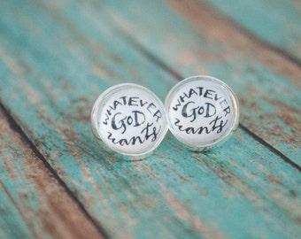 St Gianna Stud Earrings, Whatever God Wants Jewelry, Inspiring Gifts for Women, Catholic Saint Jewelry, 602001