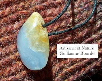 Handmade sculpted blue CHALCEDONY and YELLOW QUARTZ pendant