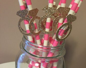 Gold Glitter Diamond Engagment Ring Pink Striped Party Straws