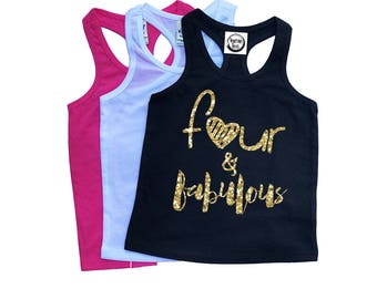 Four and Fabulous - FOUR Year Old - Girls' Birthday Tank Tops - 4th Birthday Shirt - Birthday Outfit - Girls' Tank Tops - Glitter Birthday